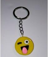 Cute Tongue Emoji Keychain Clay Emoticon Keyring Face Charm Kids Accessory - $6.50