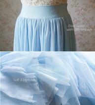LIGHT BLUE Wedding Bridesmaid Tulle Skirt High Waist Floor Length Tulle Skirt image 5