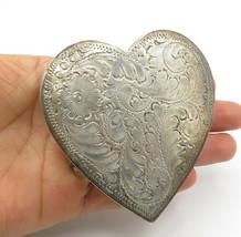 925 Sterling Silver - Vintage Floral Vine Etched Love Heart Belt Buckle ... - $198.14