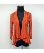 For Cynthia Orange Shear Lace Open Front Cardigan Size L 3/4 Sleeve Dres... - $24.95