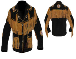 Men's New Native American Black Cow Suede Leather Fringes Bead Bone Jack... - $155.00