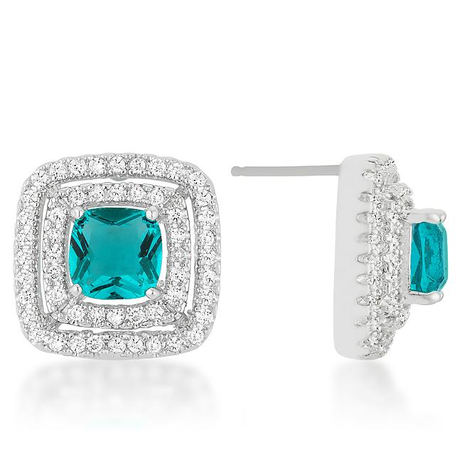 Aqua Halo Stud Earrings