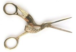 West Emory Metal Gold Tone Vintage Inspired Embroidery Sew Crane Bird Scissors  image 2