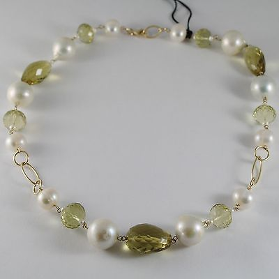 18K YELLOW GOLD NECKLACE BIG PEARLS CUSHION LEMON & BROWN QUARTZ MADE IN ITALY