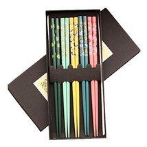 Kylin Express 5 Pairs Wooden Japanese Chopsticks Gift Reusable Chop Stic... - $26.92 CAD