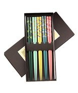 Kylin Express 5 Pairs Wooden Japanese Chopsticks Gift Reusable Chop Stick with C - $20.42