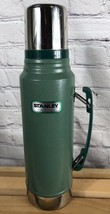 Stanley Thermos Classic Vacuum Bottle Hammertone Green 1.1 Qt Stainless ... - $14.99