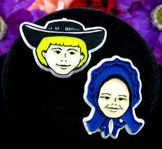 AMISH BOY & GIRL PIN SET Vintage Pair of Brooches Stel-Mar Lancaster PA ... - $12.99