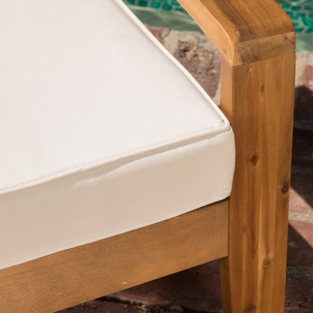 Noble House Patio Conversation Set Beige Cushions Water resistant Wood (4-Piece)