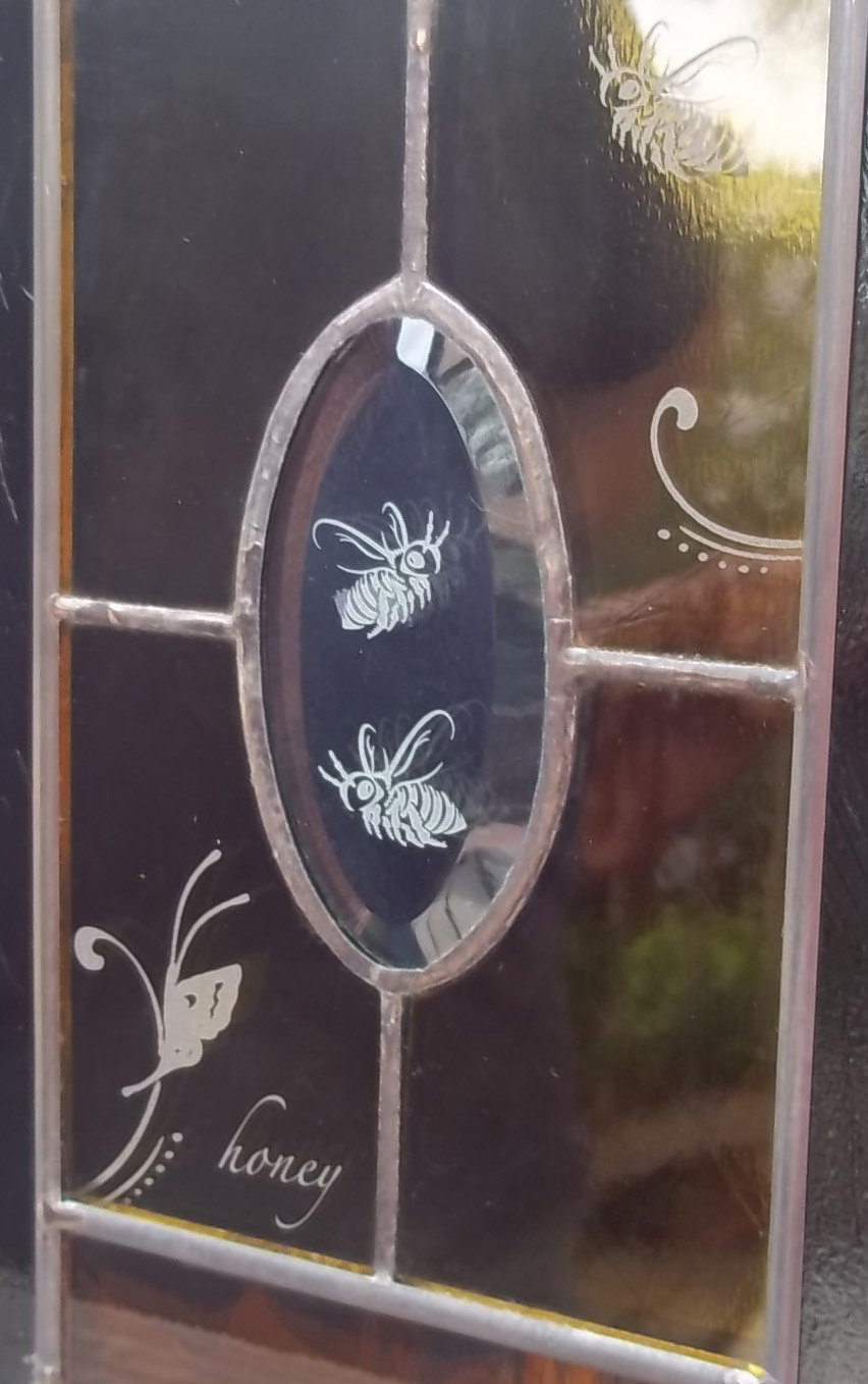 Stained Glass Window - Two Honey Bees Butterfly Flourish Panel