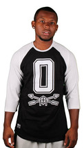 "Omit ""O"" Leagues Mens Black White Raglan 3/4 Sleeve T-Shirt NWT"