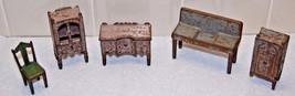Vintage Cast Iron Toys Dollhouse Miniature Furniture 5 Pieces - $148.50