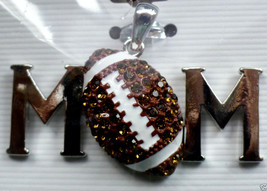 MOM Football Fan Pendant  Metal  rhinestones - $5.89