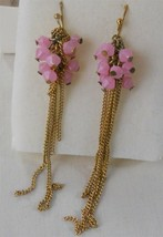 Avon Mark Earrings Faceted Stone Chain Pink w/ Goldtone Wire Hook - $9.88