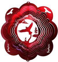 12 in stainless steel red Eagle Flight USA 3D hanging yard wind spinner spinners - $32.00
