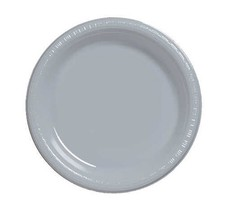 "Silver 10.25"" Plastic Dinner Plates 40 Per Pack Creative Converting - £10.51 GBP"