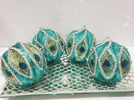"Coastal Beach Peacock Glitter 4"" Christmas Tree Ornaments Decor Set of 4 - $38.99"