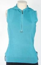 Bcbg Max Azria Blue Sleeveless Hooded Shirt Top Blouse Women's NWT - $74.99