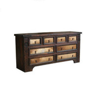 Rustic Dark Cowhide Dresser Rope Star Real Solid Wood Real Cowhide Cabin... - $1,336.50