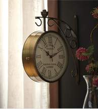 Gold Iron Victoria Double Sided platform Wall Clock - $321.00+