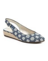 NEW ANNE KLEIN BLUE DENIM FLORAL SLING BACK  WEDGE SANDALS PUMPS SIZE 7.... - $29.99
