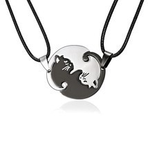 Couples Jewelry Necklaces Black white Couple Necklace Titanium Steel ani... - $10.33