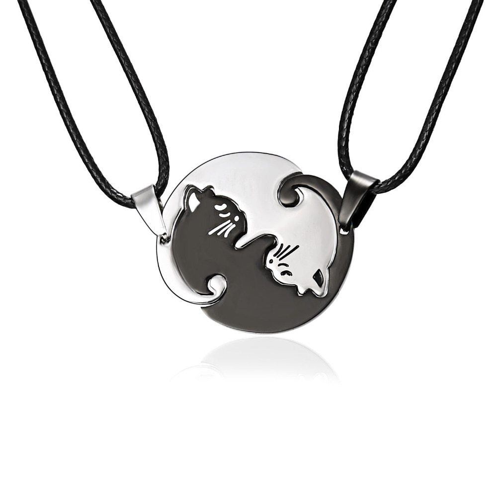 Primary image for Couples Jewelry Necklaces Black white Couple Necklace Titanium Steel animal cat