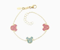 18K YELLOW GOLD BRACELET FOR KIDS WITH DOG PUPPY DOGGIE  MADE IN ITALY  5.5 IN image 1