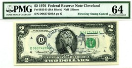 $2 DOLLARS 1976 FIRST DAY STAMP CANCEL CLEVELAND OH LUCKY MONEY VALUE $1976 - $1,778.40