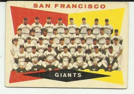 SAN FRANCISCO GIANTS 1960 TOPPS #151 TEAM CARD & CHECKLIST UNMARKED - $4.13