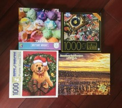 Lot of 4 Jigsaw Puzzle  1000PC and 750PC Puppy Birds Ice Cream Milton Bradley image 1
