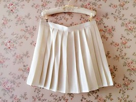 White Pleated Skirts Campus Style Pleated Skirt Girls School Skirts Plus Size - $21.99
