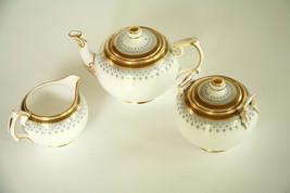 VTG Copeland Spode 3 Piece Tea Serving Set Pattern R3615 Pot Sugar Bowl Creamer - $98.01