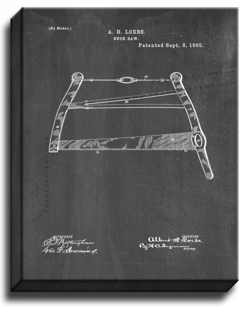 Primary image for Buck Saw Patent Print Chalkboard on Canvas