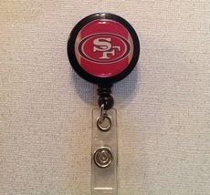 Nfl San Francisco 49ers Badge Reel Id Holder red alligator clip handmade... - $6.95
