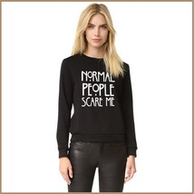 "Black Cotton Long Sleeve Printed ""Normal People Scare Me"" Warm Sweatshirt"