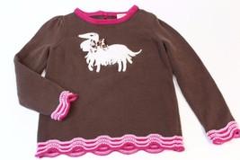 K4666 Girls Gymboree Parisian Chic Brown Pullover Sweater, Pink Trim, Sz XS/3-4 - $11.65