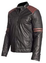 Mens Retro Powerhorse Moto Rider Cafe Racer Black Biker Leather Jacket image 3