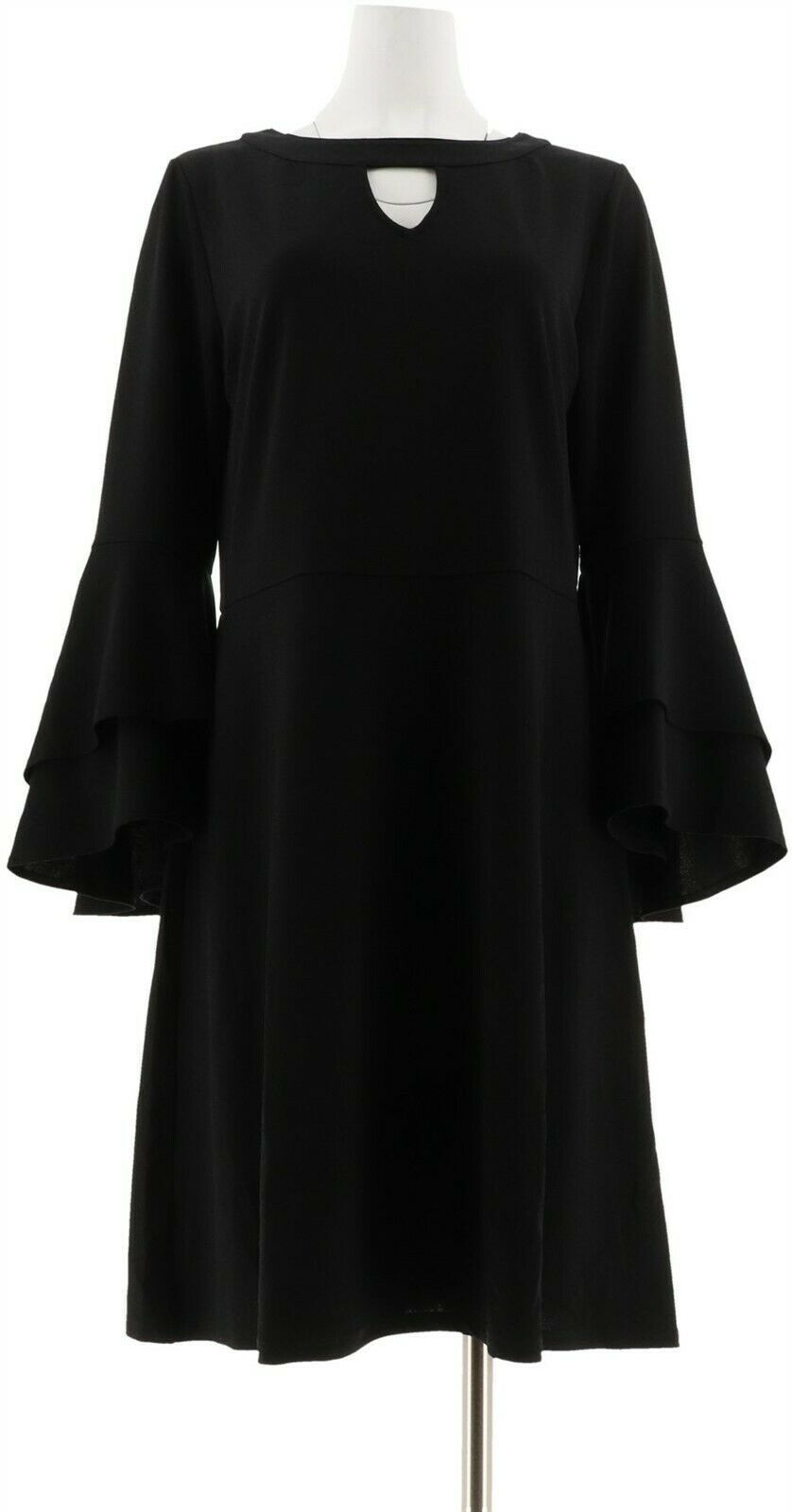 Primary image for Isaac Mizrahi Pebble Knit Keyhole Dress Ruffle Slvs Black 1X NEW A309994