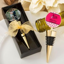 Personalized expressions collection gold metal wine bottle stopper  - $4.99