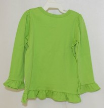 Blanks Boutique Girls Lime Green Long Sleeve Ruffle Tee Shirt Size 2T image 2