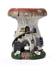 "15.7"" Solar Powered Light Up Toadstool House with Green Grass Accents Polyresin"