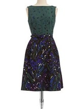 Anne Klein Colourblock Print Fit N Flare Green Black Belted Dress Size 10 - $46.99