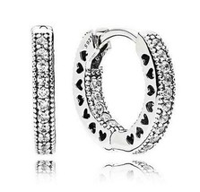 2020 New Authentic 925 Sterling Silver Pave Heart Hoop Earrings Pandora ... - $10.68