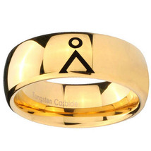 Stargate Design 10mm Gold Dome Tungsten Carbide Engraved Ring - $53.99