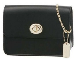 Coach NEW Refined Calf Smooth BLACK Leather Turnlock Crossbody Bag 57714 - $88.61