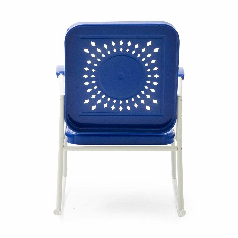 Retro Vintage Style Blue White Metal Patio Rocking Chair Outdoor Furniture