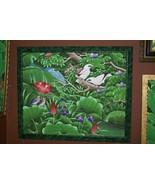 Custom Frame Handpainted Signed Canvas Art Rain Forest Starling Water li... - $569.99