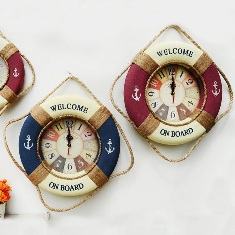 Image of 25CM-35CM-Mediterranean-Style-Painting-Cloth-Lifebuoy-Clock-1PC-Needle-Wall-Cloc