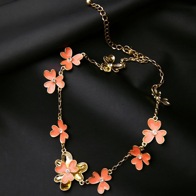 Necklaces for Women Design Orange Flowers Short Necklace kpop Fashion Jewlery